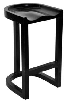 Saddle Bar Stool, Hand Rubbed Black