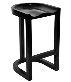 Saddle Bar Stool, Hand Rubbed Black