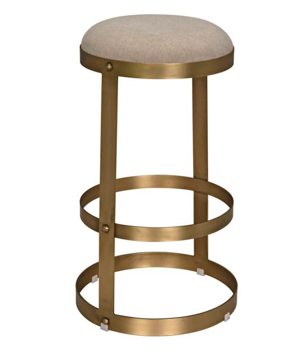Dior Bar Stool, Metal with Brass Finish