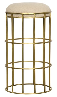 Ryley Counter Stool, Metal with Brass Finish