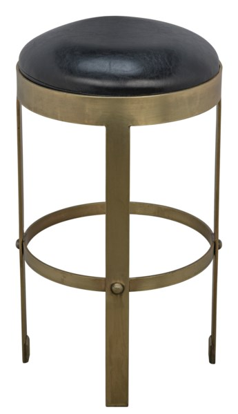 Prince Counter Stool with Leather, Gold