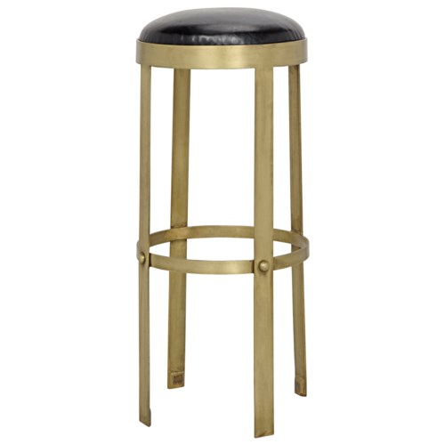 Prince Stool with Leather, Brass Finish