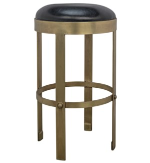 Prince Counter Stool with Leather, Brass Finish