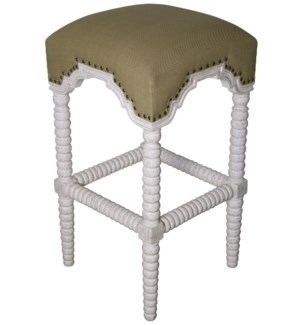 Abacus Bar Stool, White Wash