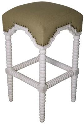 Abacus Bar Stool, White Wash