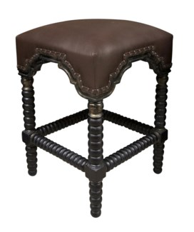 Abacus Counter Stool, Hand Rubbed Black w/ Gold Trim
