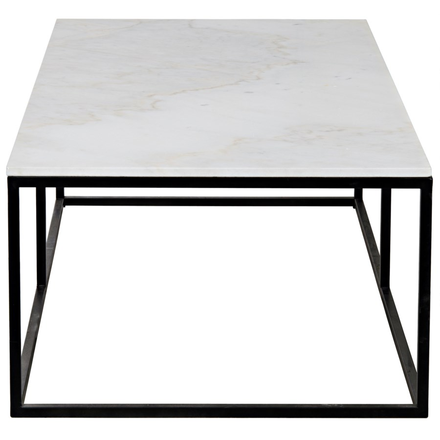 Lois Coffee Table, White Stone and Black Metal
