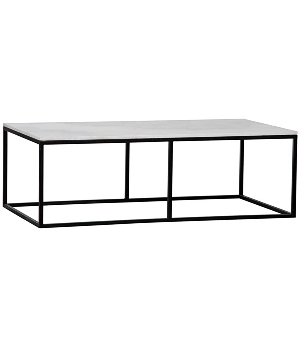 Lois Coffee Table, White Marble and Black Steel