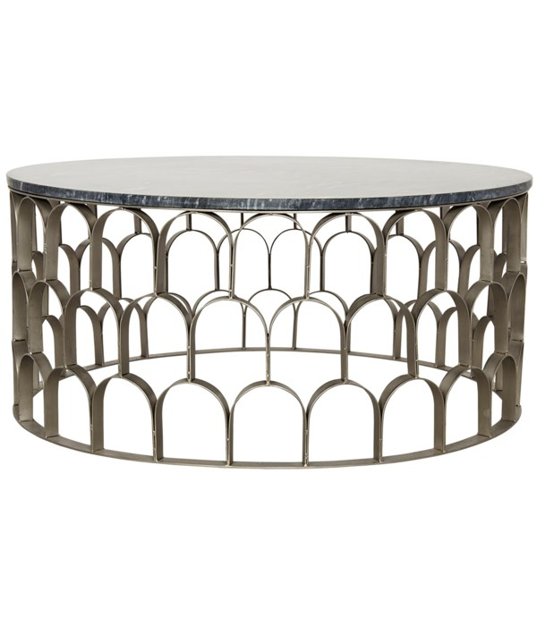Mina Coffee Table, Antique Silver, Steel and White Marble