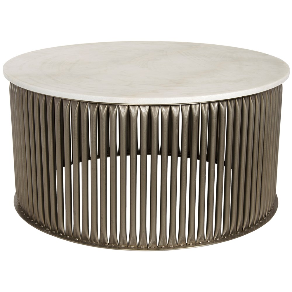 Lenox Coffee Table, Antique Silver, Steel and White Marble