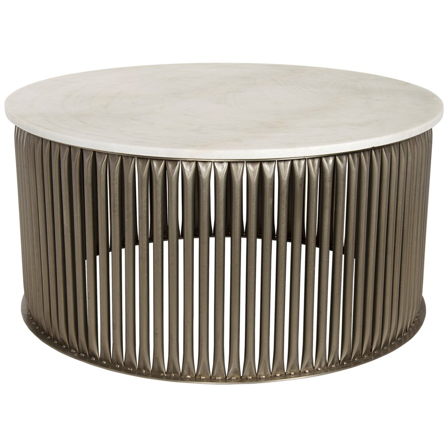 Lenox Coffee Table, Antique Silver, Metal and Stone