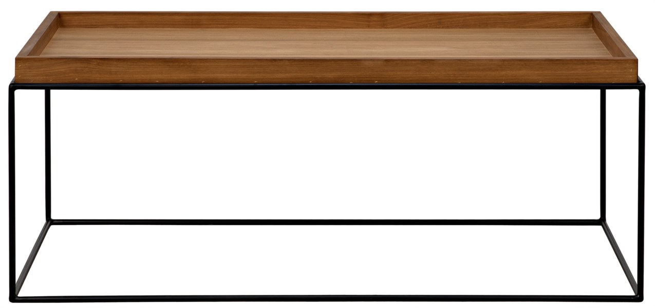 SL01 Coffee Table, Metal Base with Gold Teak Top