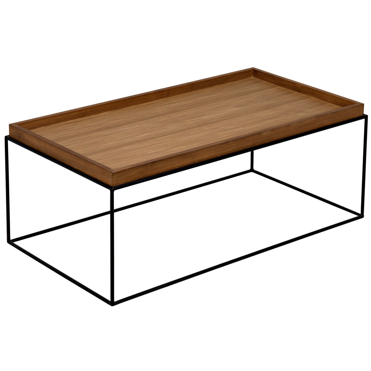 SL01 Coffee Table, Steel Base with Gold Teak Top