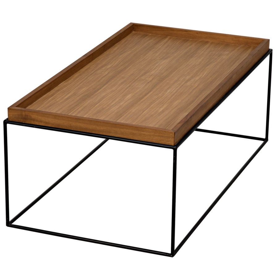 SL01 Coffee Table, Metal Base with Gold Teak Top ...