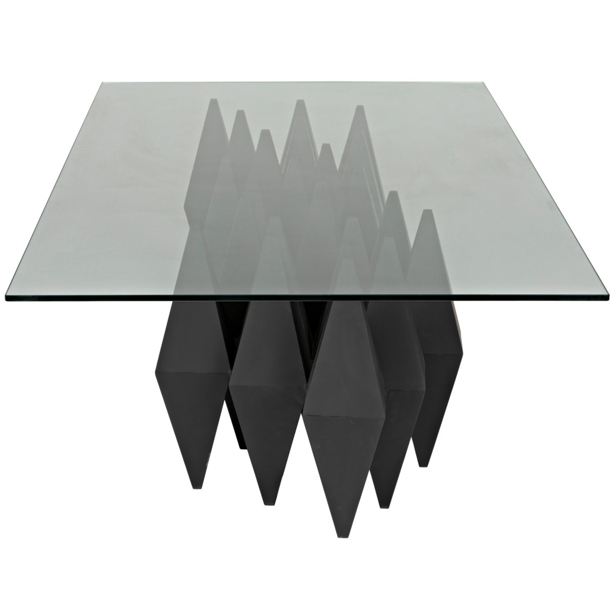Bast Metal Coffee Table with Glass Top, Black Steel