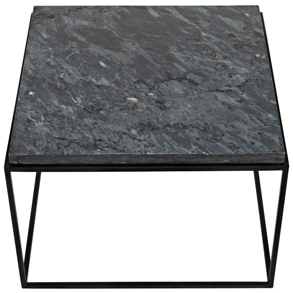 Lomax Coffee Table, Black Metal Finish with Black Stone