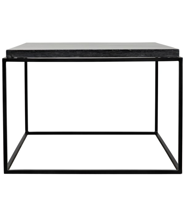 Lomax Coffee Table, Black Steel Finish with Black Marble