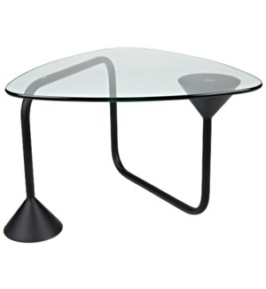 Flip Flop Coffee Table, Black Steel with Glass