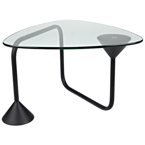Flip Flop Coffee Table, Black Metal w/Glass