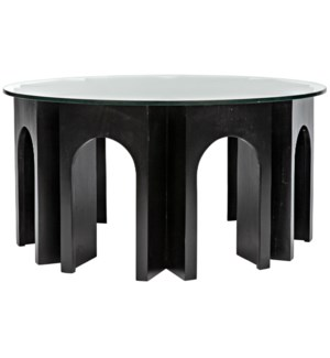 Perpetua Coffee Table with Glass Top, Hand Rubbed Black