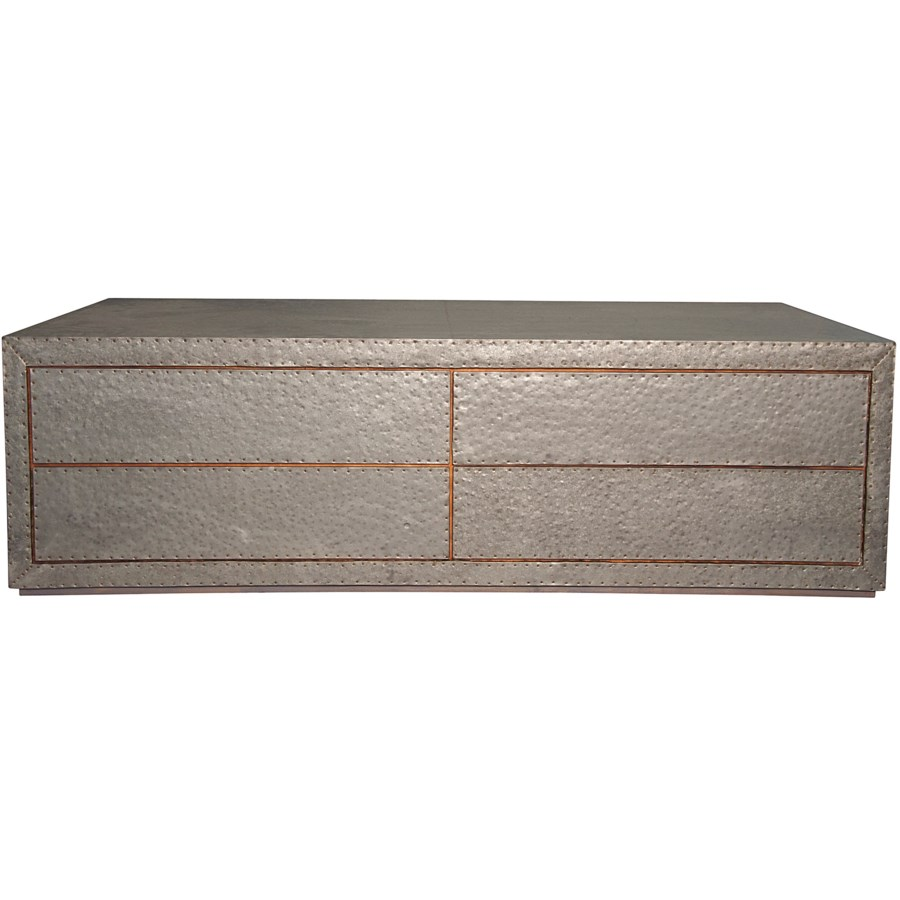 Metal Coffee Table with 4 Drawers, Zinc