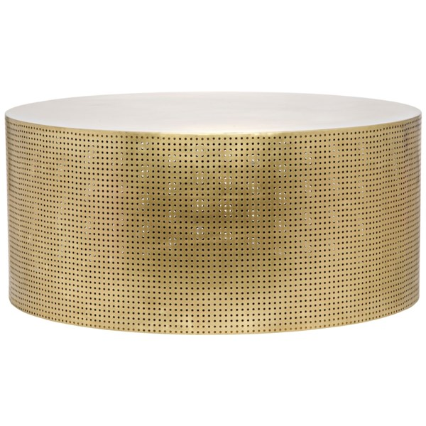 Noir Eclipse Oval Coffee Table: Dixon Coffee Table, Antique Brass, Metal