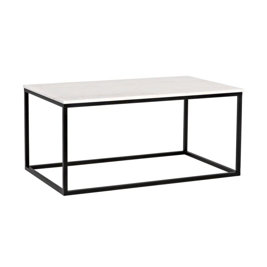Manning Coffee Table, Black Metal with Quartz Top