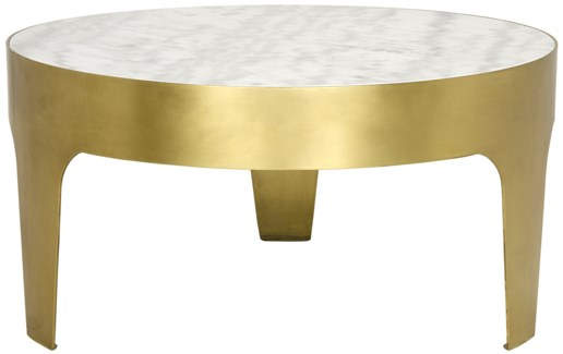 Cylinder Round Coffee Table, Antique Brass, Metal and Quartz