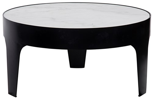 Cylinder Round Coffee Table, Black Metal with Quartz Top