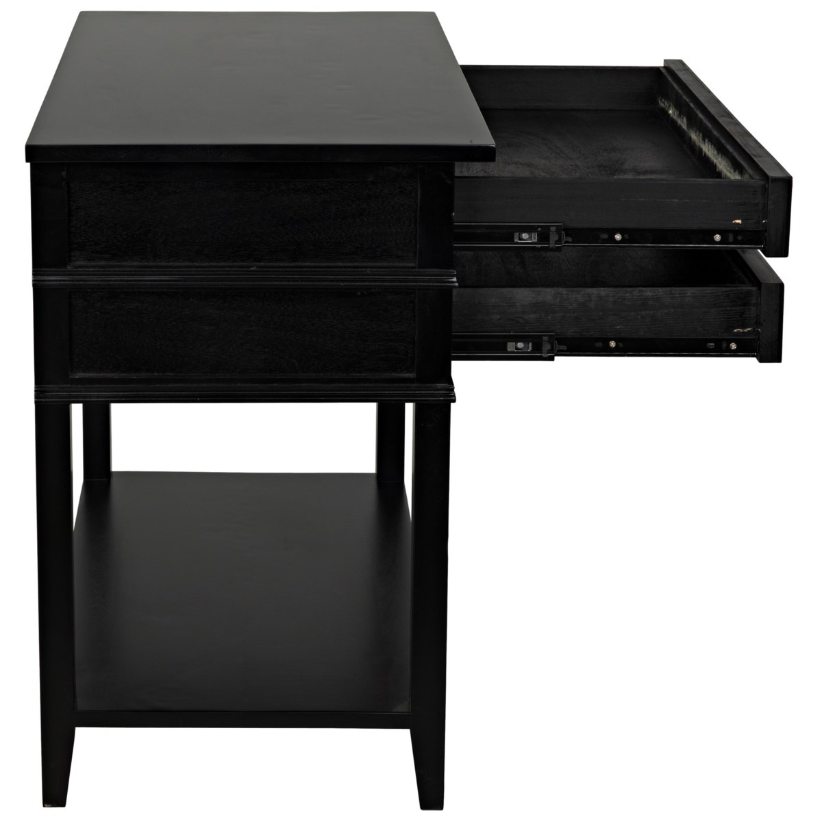 Colonial 2-Drawer Side Table, Distressed Black