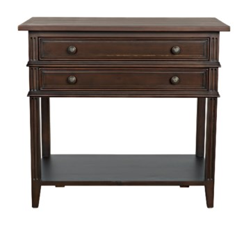Colonial 2-Drawer Side Table, Distressed Brown
