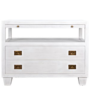 2-Drawer Side Table with Sliding Tray, White Wash