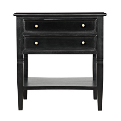 QS Oxford 2-Drawer Side Table, Hand Rubbed Black