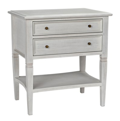 Oxford 2-Drawer Side Table, White Wash