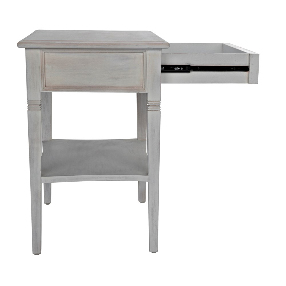 Oxford 1-Drawer Side Table, White Wash