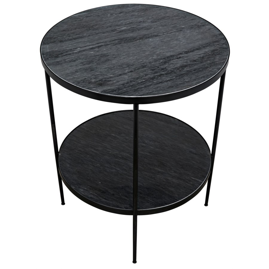 Rivoli Side Table, Black Metal with Marble