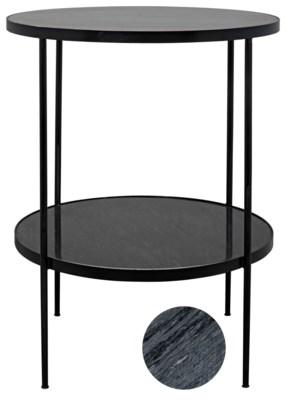 Rivoli Side Table, Black Metal with Marble