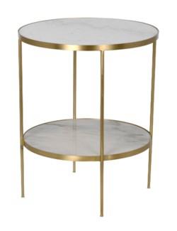 QS Rivoli Side Table, Antique Brass, Metal and Quartz