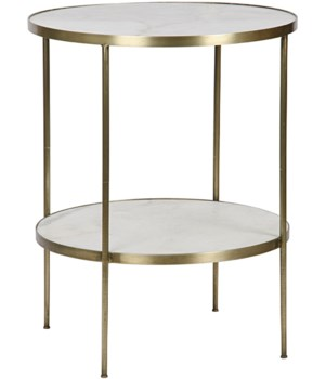 Rivoli Side Table, Antique Brass, Metal and Quartz