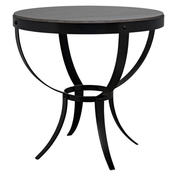 Byron Side Table, Black Metal with Marble