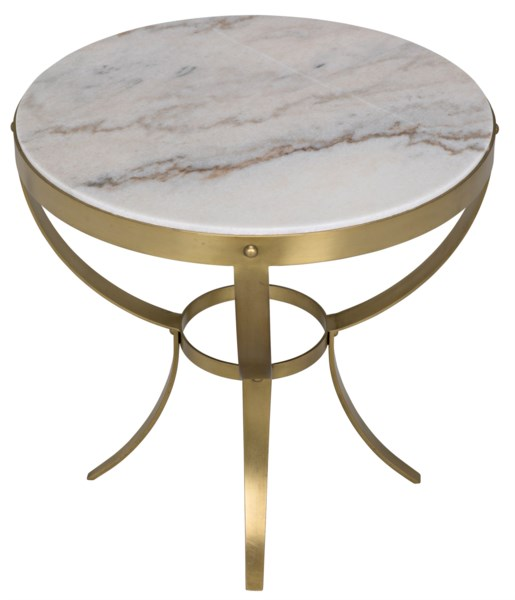 Byron Side Table, Antique Brass and Stone