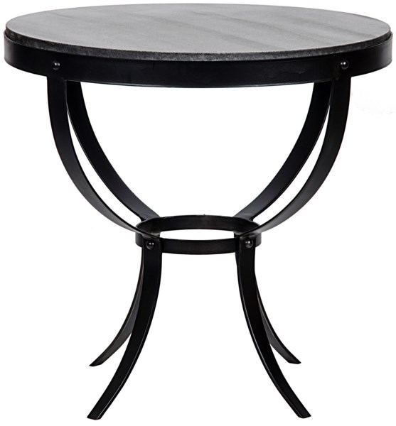 Byron Side Table, Metal and Stone