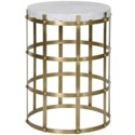 St. Petersburg Side Table, Antique Brass, Metal and Stone