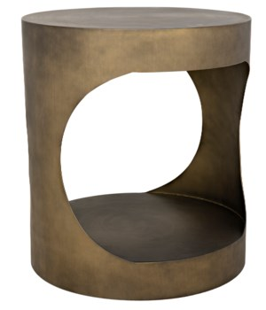 Eclipse Round Side Table, Metal w/Aged Brass Finish
