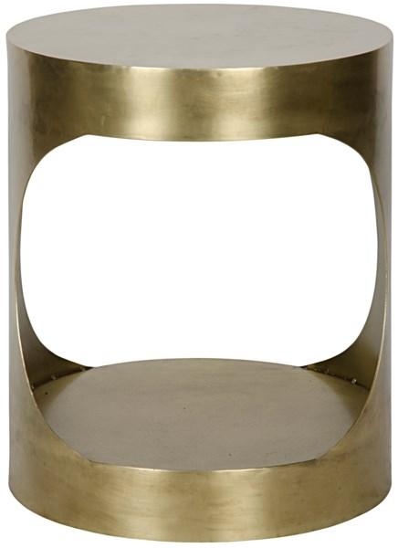 Eclipse Round Side Table, Antique Brass