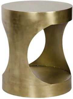 QS Eclipse Round Side Table, Antique Brass