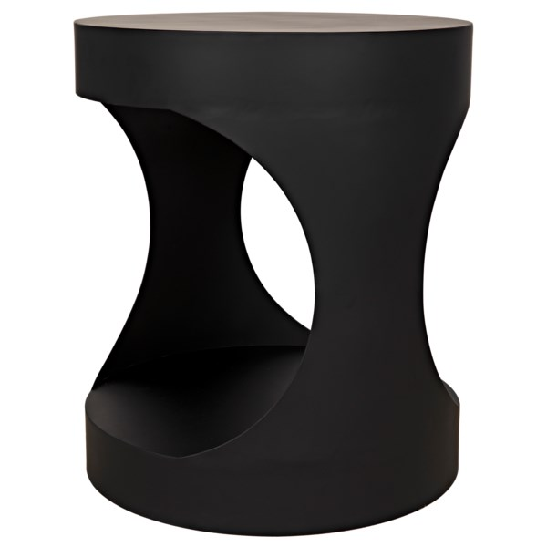 Noir Eclipse Oval Coffee Table: Eclipse Round Side Table, Black Metal