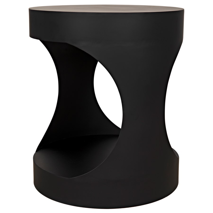 Eclipse Round Side Table, Black Metal