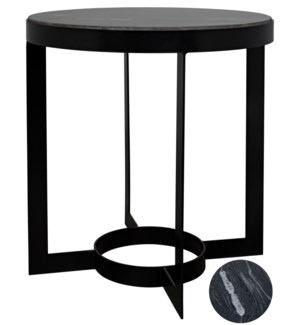 Parker Side Table, Black Steel with Black Marble