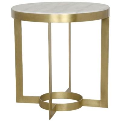 Parker Side Table, Antique Brass, Metal and Quartz
